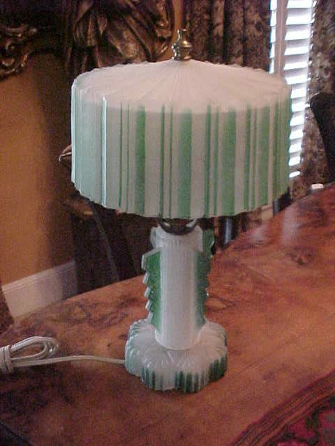 Vintage Art Deco Frosted Glass Boudoir Lamp Also Glass