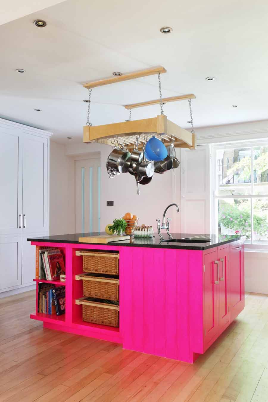 roundhouse bespoke kitchen island in neon pink pink kitchen kitchen design kitchen layout on kitchen decor pink id=83450
