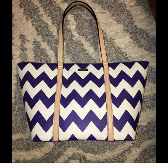 Kate Spade Chevron Bag- blue and white. NWOT NWOT chevron blue and white purse. Used for 3 days and switched purses. Smoke free, pet friendly home kate spade Bags Totes