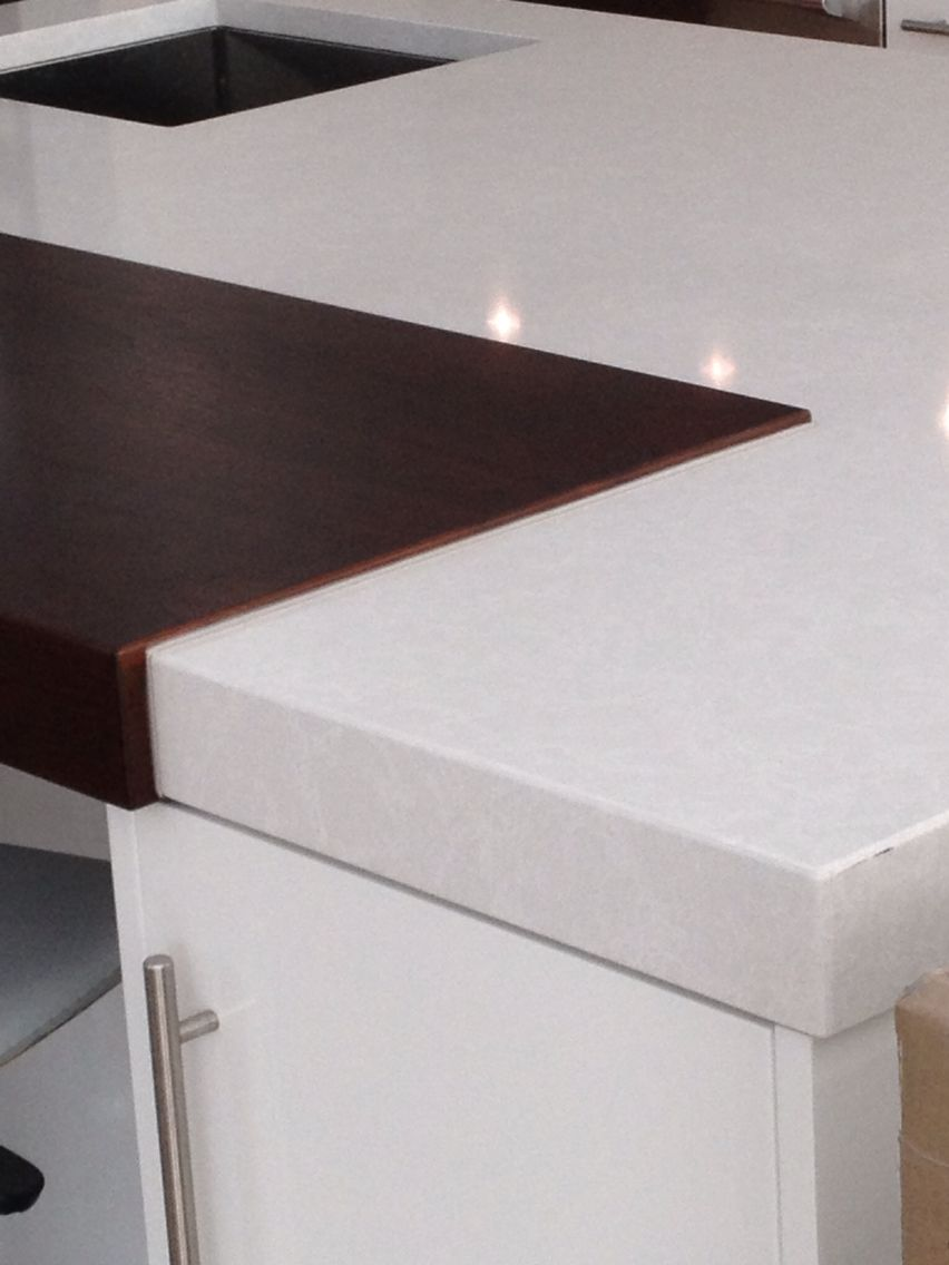 Kitchen Tiles Ottawa cambria drop mitre kitchen in #whitehall colour with built in wood