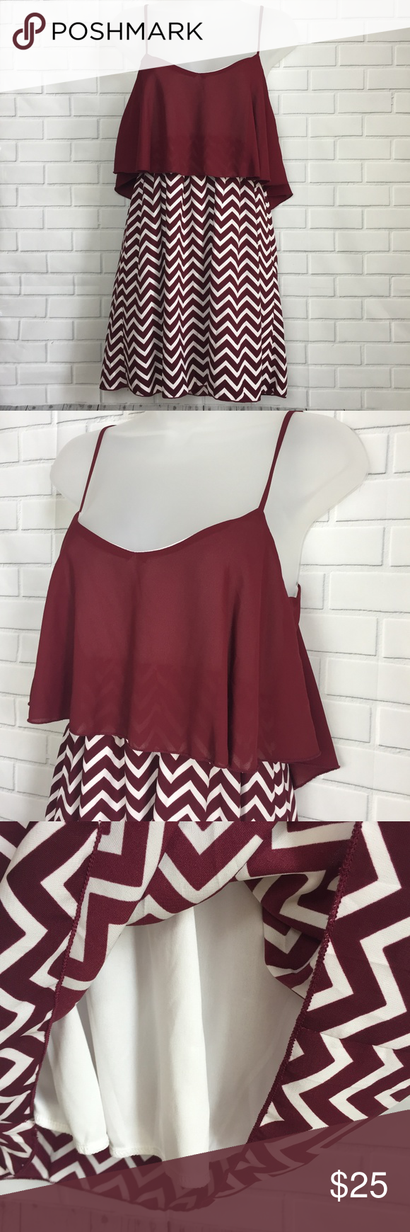 Game Day Dress Maroon and White Chevron Size Small Brand new maroon and white  chevron print c54257162