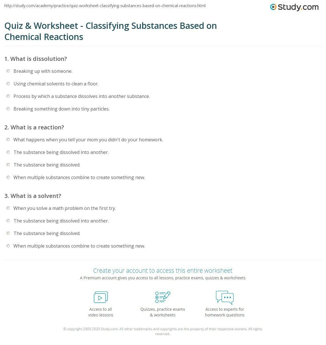 Classification Of Chemical Reactions Worksheet Quiz