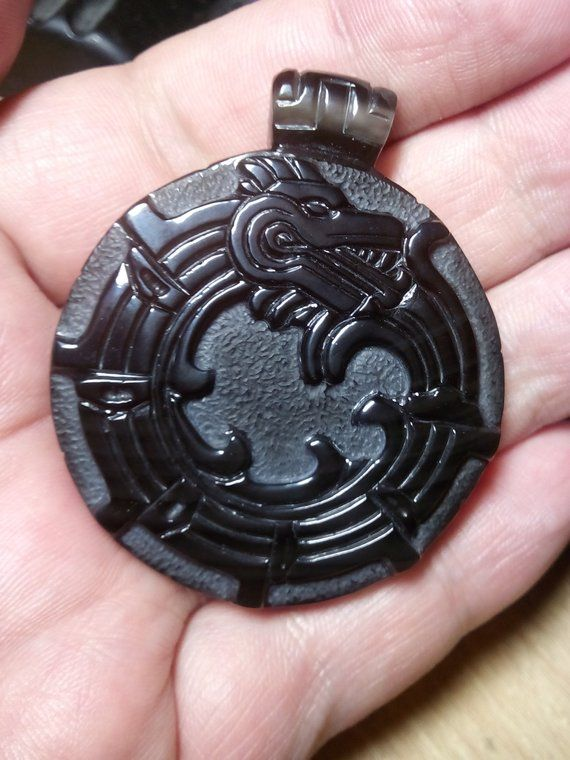 Carved Pendant natural stone Ethnic decoration Obsidian Pendant 51mm 28mm Quetzalcoatl Pendant stone-cut miniature of Obsidian 9mm