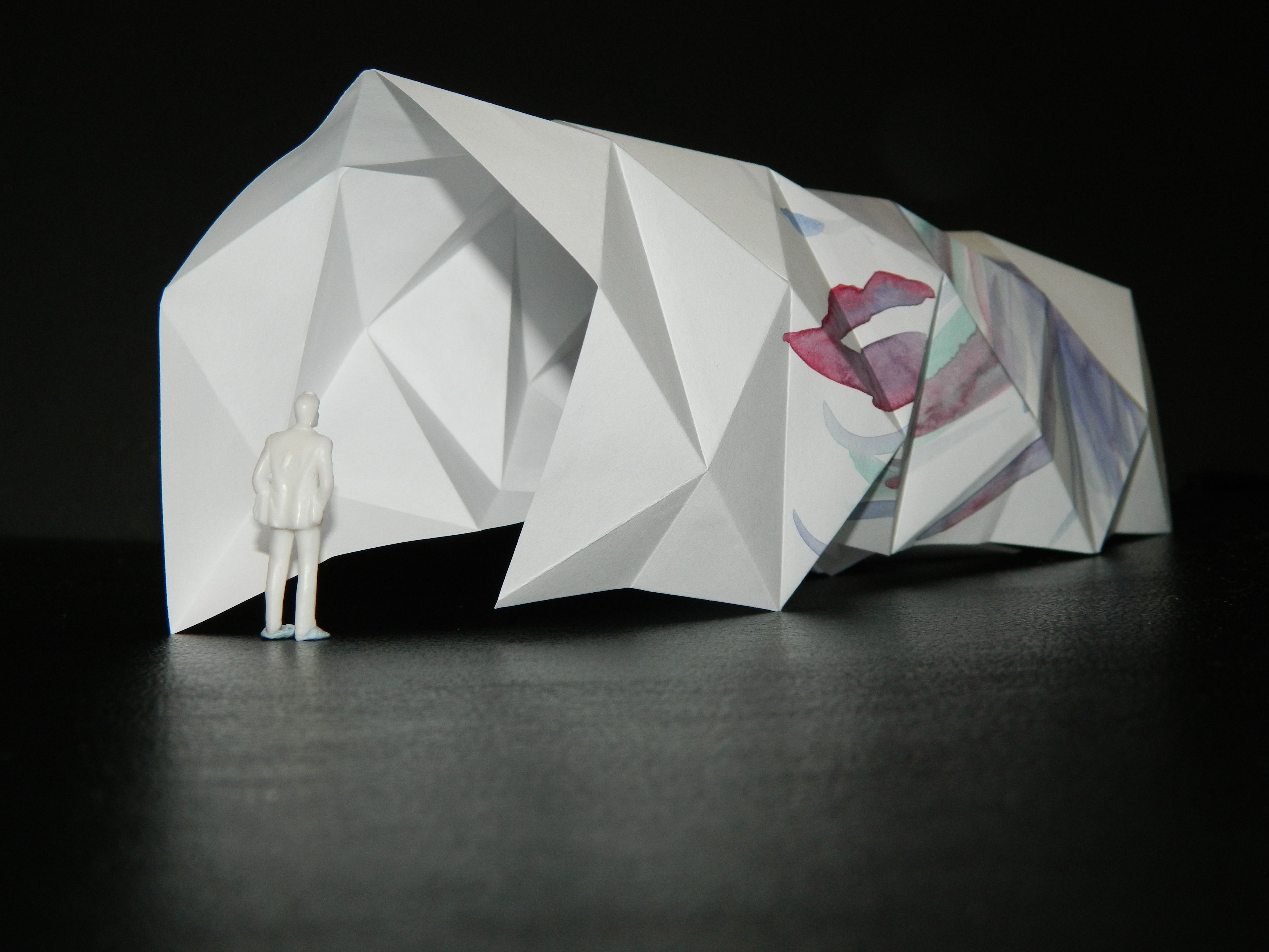 An origami model that explores creating repetitive angles for Architecture origami