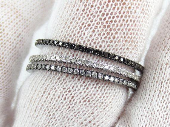 Set Of 3 Bands Black Diamond Rhodium By ZinaTahiriDiamonds 98500
