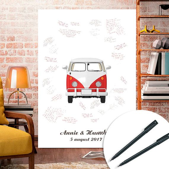 Guest book sign poster wagen printable Wedding baby by ByYolanda