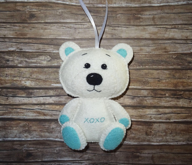 Wool Felt Bear Ornament White Bear White And Mint Embroidered Bear Decor Woodland Animal Gift Felt Animal Felt Ornaments Bear Decor Wool Felt