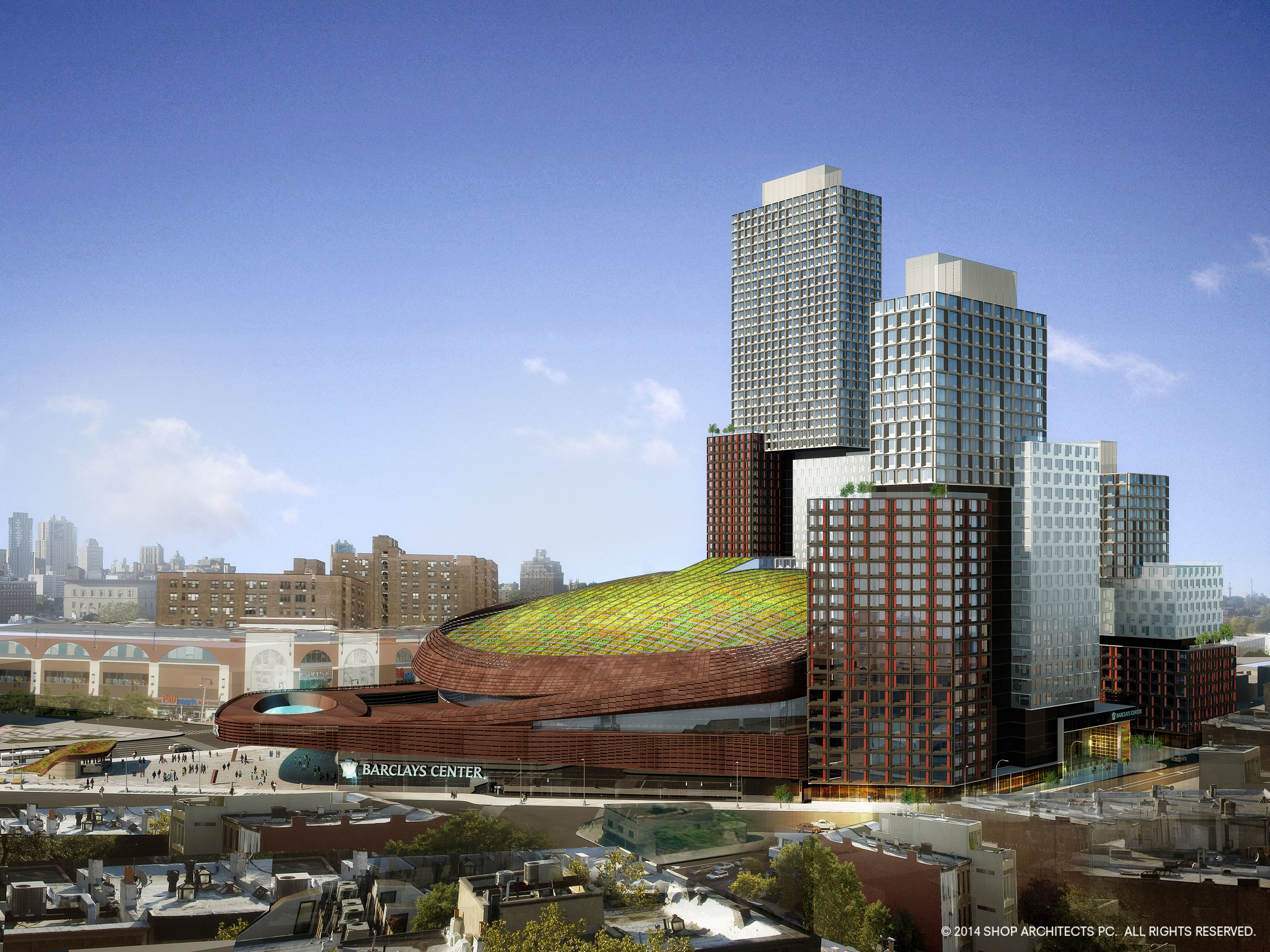Brooklyn S Barclays Center Is Getting A 130 000 Square Foot Green Roof Green Roof Shop Architects Green Building
