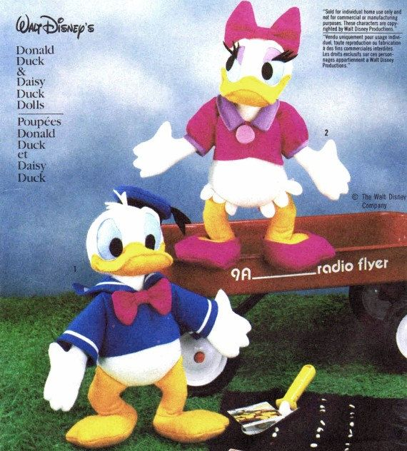Donald Duck and Daisy Duck Dolls Toy Pattern Simplicity 7636 Vintage ...