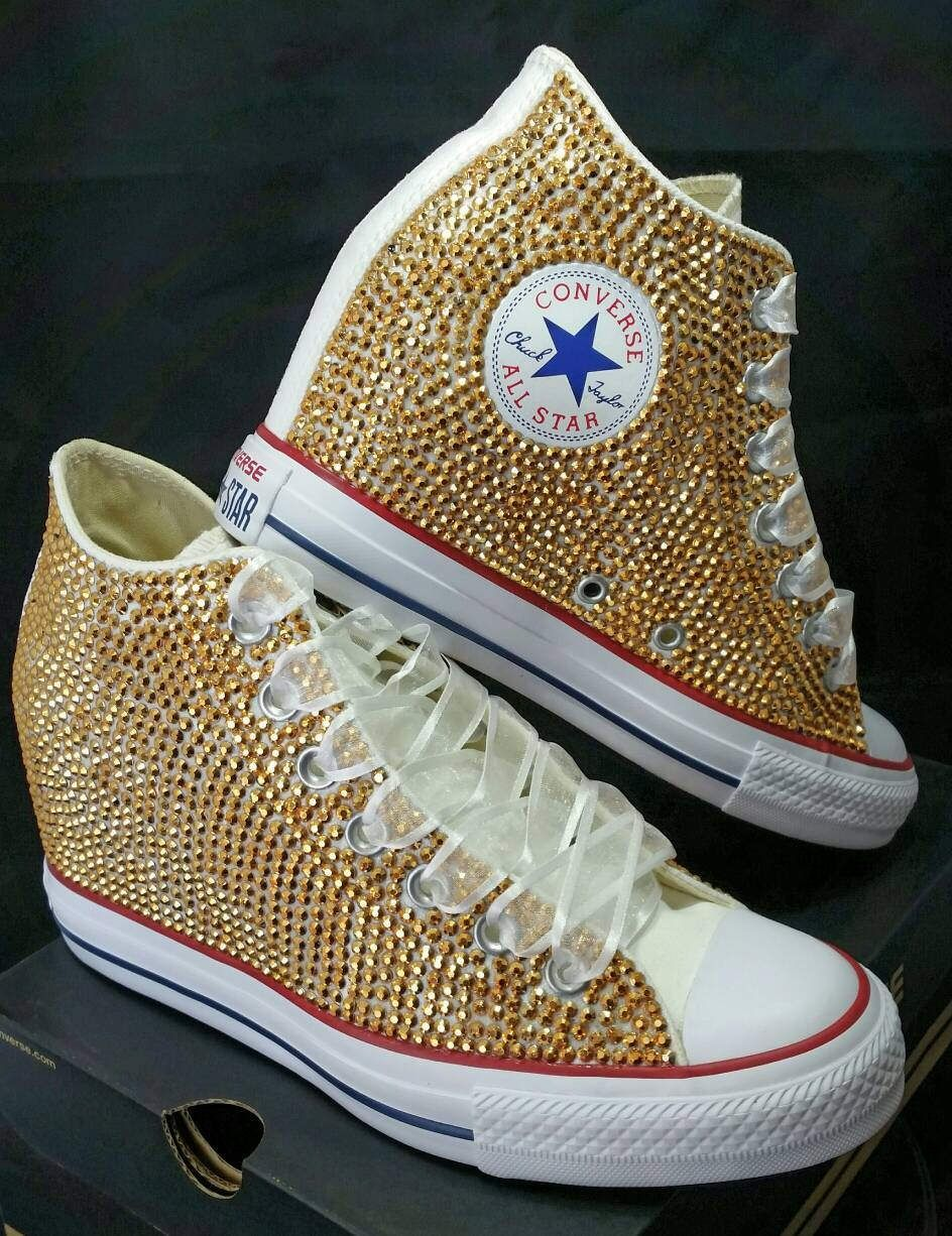 e45038170598cc Wedge Bridal Converse- Wedding Converse- Full Bling Custom Converse  Sneakers- Personalized Chuck Taylors- All Star Converse Sneakers by  DivineUnlimited on ...