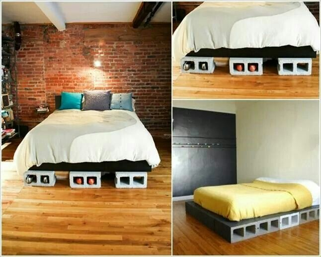 Simple Cinder Block Platform Bed