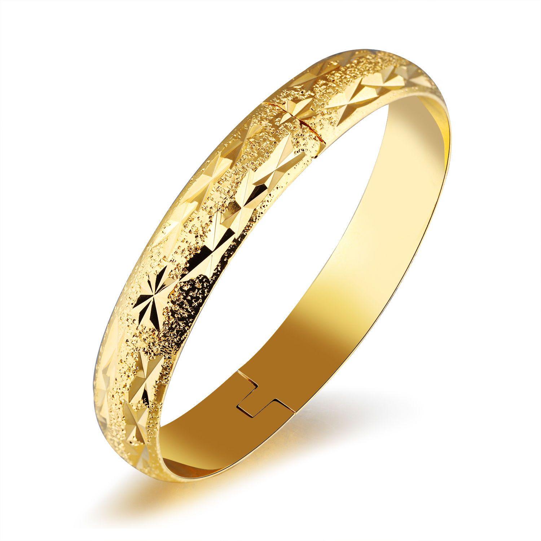 Hot selling k gold plated bracelet women girls cuff bangle mm
