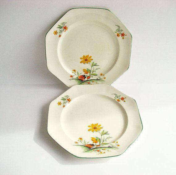 1930s Dinner Plates Art Deco Crockery J Kent Ltd by AboutThePlace & 1930s Dinner Plates Art Deco Crockery J Kent Ltd English Fine ...