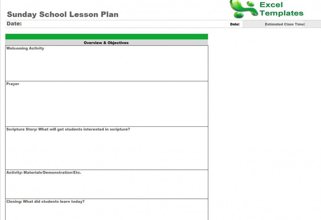 Sunday School Lesson Plan Template From ExceltemplatesNet