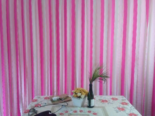Cortina de Papel Crepom rosa para decoraç u00e3o simples chá de panela Cortina de papel crepom  -> Decoração Cha De Bebe Com Papel Crepom