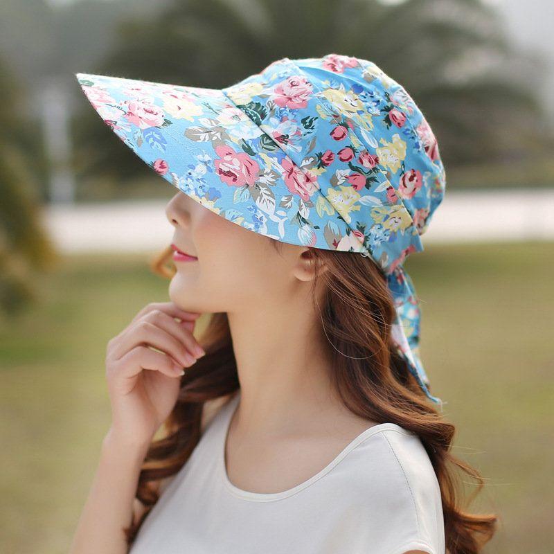 424c123d6fd Women Ladies Summer Outdoor Anti-UV Beach Sunscreen Sun Hat Flower Print Wide  Brim Caps