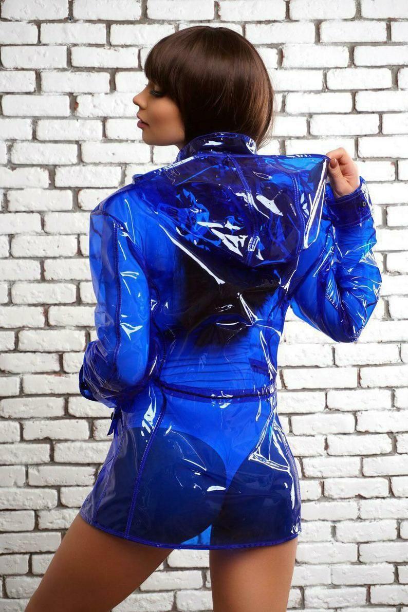 Sport Colored Transparent Vinyl Rain Jacket Hoodie Gorgeous Etsy In 2020 Vinyl Clothing Stylish Raincoats Blue Raincoat