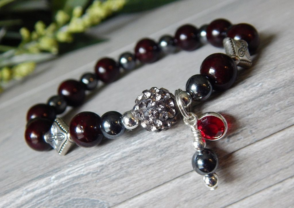 Hematite and Dark Red Bracelet with Pave