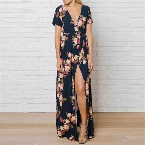 Floral Print Kimono Women Long Dress - Zoni