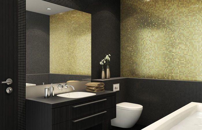 Mozaiek tegels badkamer zwart en goud | Badkamer | Pinterest ...