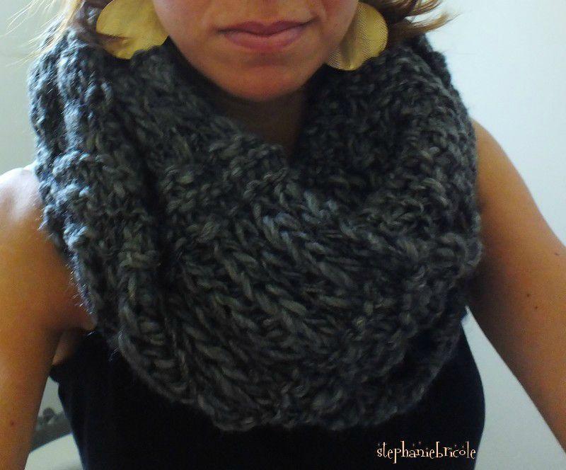tricoter un snood geant