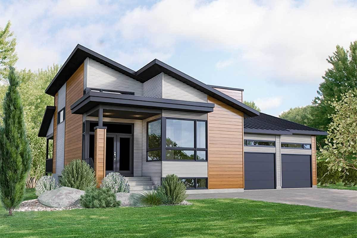 Plan 80913pm Modern 3 Bed House Plan With 2 Car Garage Modern House Plans Facade House Modern Style House Plans