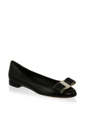 Salvatore Ferragamo Varina Studded Bow Leather Flats 4p33Adn5