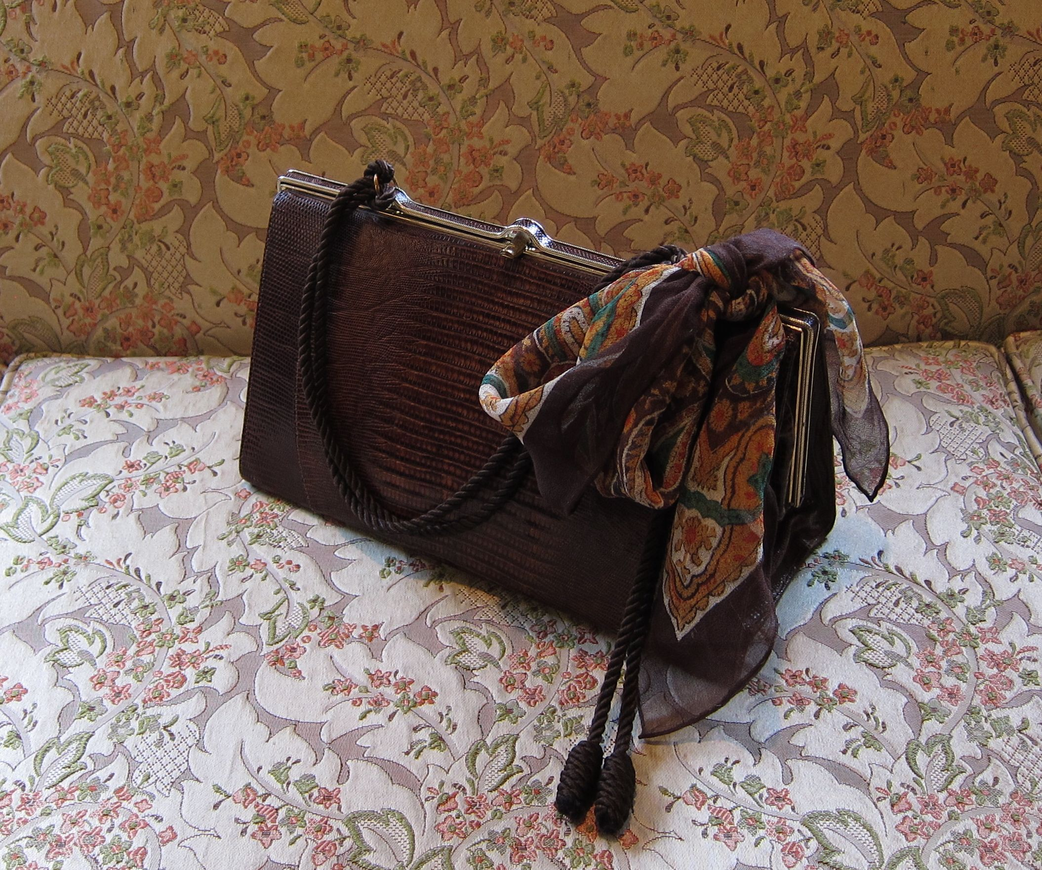 A creatively up to date handle added to an artistically vintage bags    Vintage 50's Snake Skin Bag With New Handle Made of a Silk Cord Belt ...