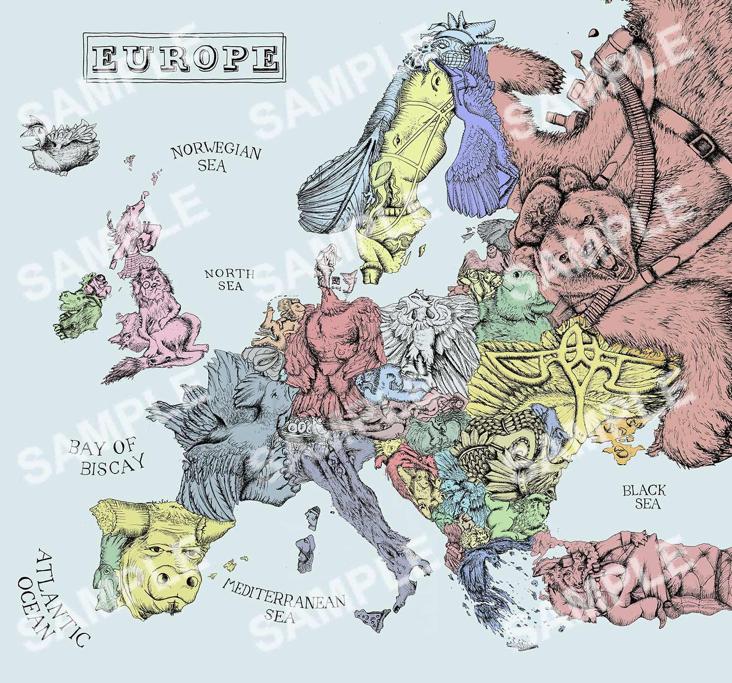 Europe In Symbols Illustrated Map Poster Buy It At Http - Buy map posters