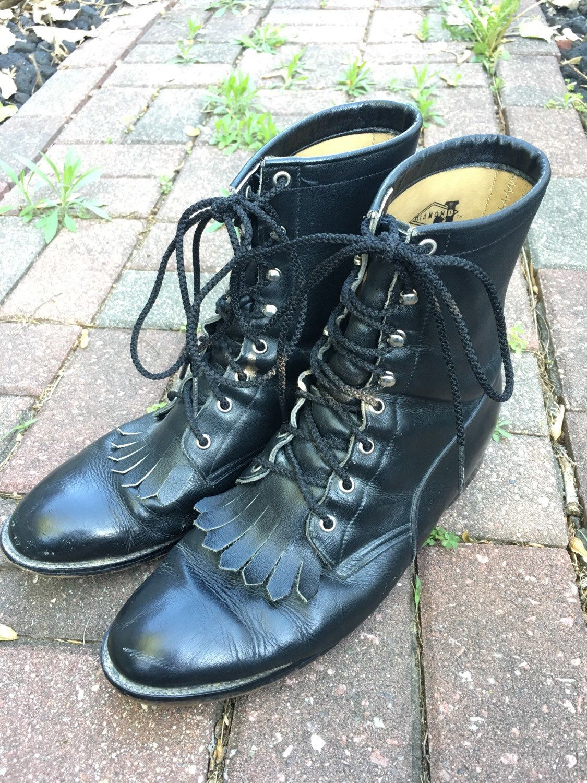 705d303bf1a54 Vintage Diamond J by Justin Black Lace Up Kiltie Style Combat Boots ...