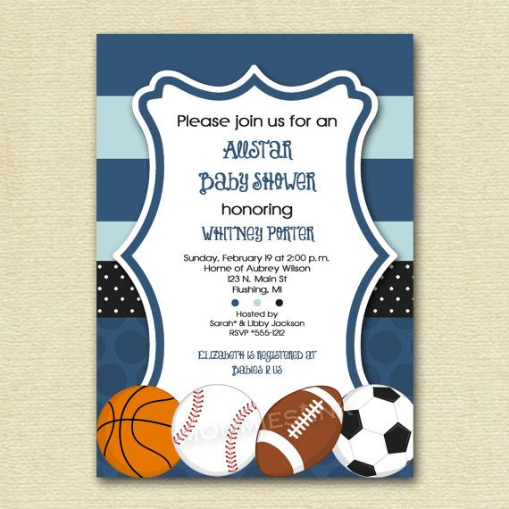 mod allstar sports theme baby shower invitation all star invite