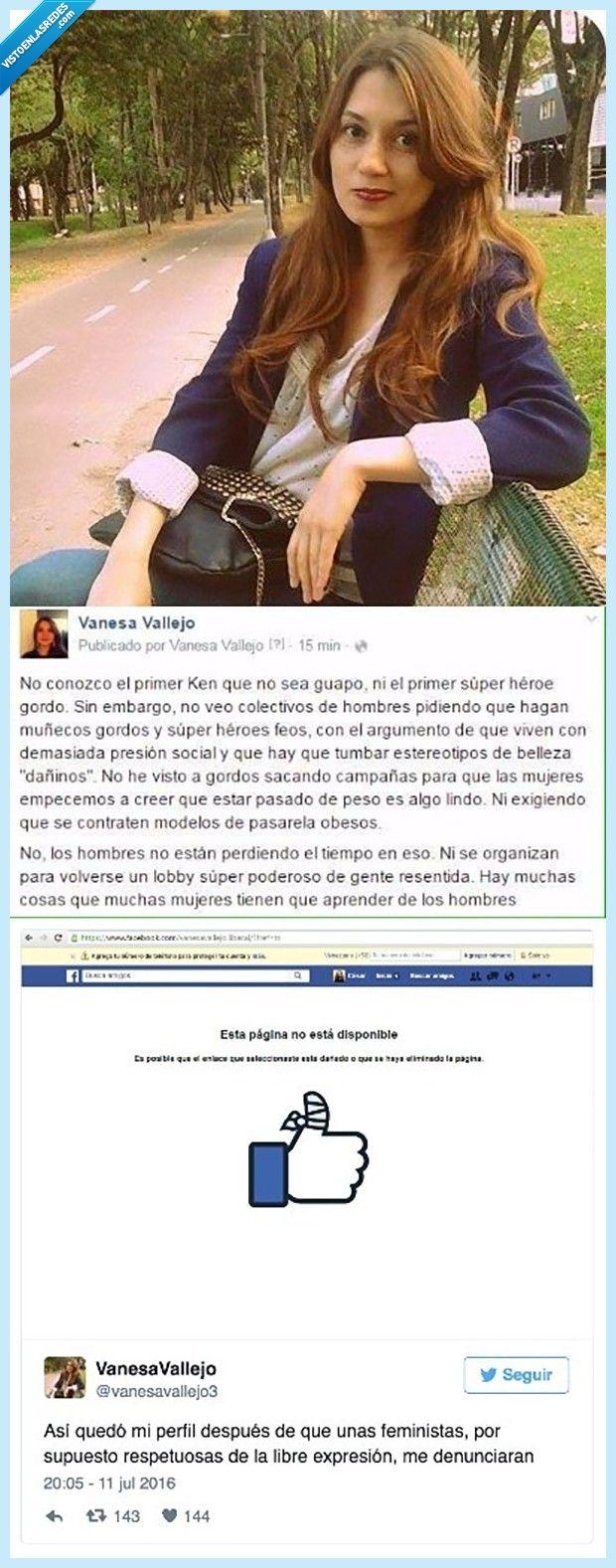 Facebook le cancela su cuenta por su mensaje antifeminista   Gracias a http://www.vistoenlasredes.com/   Si quieres leer la noticia completa visita: http://www.estoy-aburrido.com/facebook-le-cancela-su-cuenta-por-su-mensaje-antifeminista/