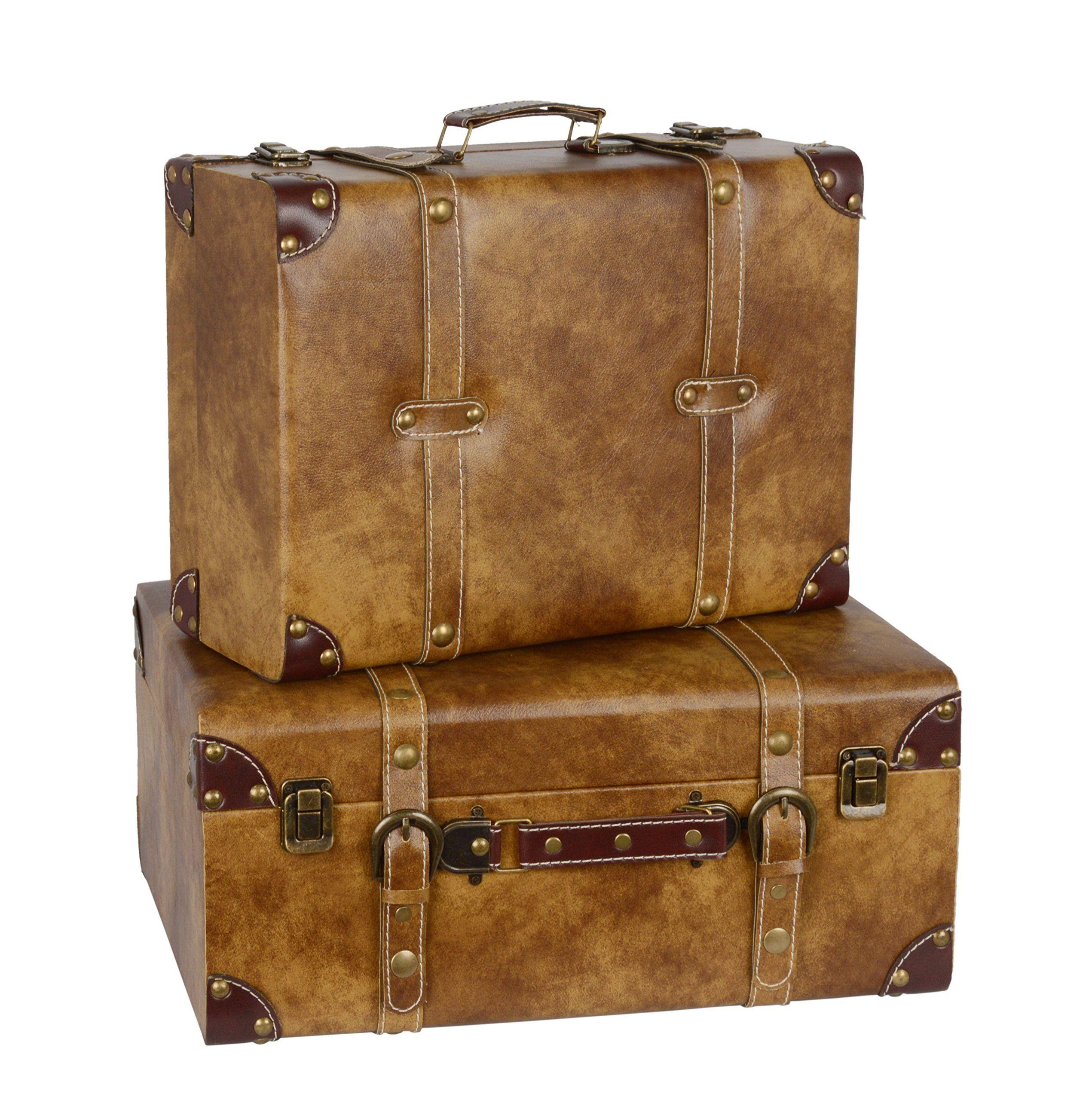 Deko Koffer Box Vintage Retro Aufbewahrung Leder 2er Set L
