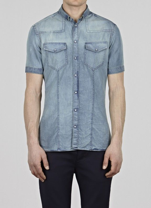 Short Sleeve Skinny Fit 2 Pocket Shirt Indigo