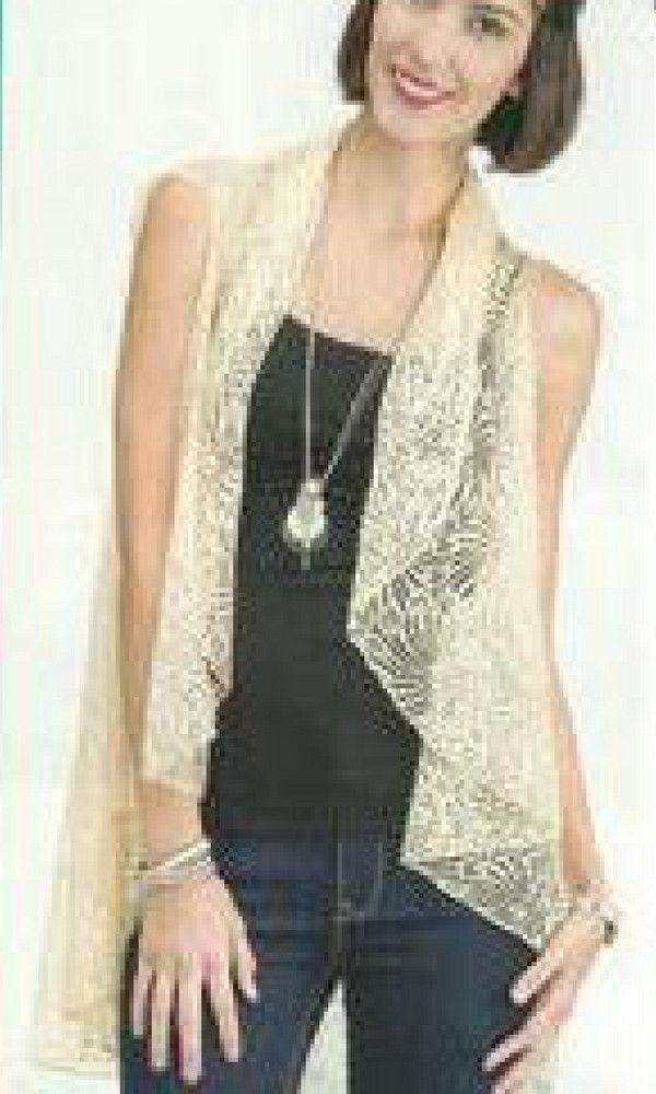 Peach Fabric Women's Lace Vest