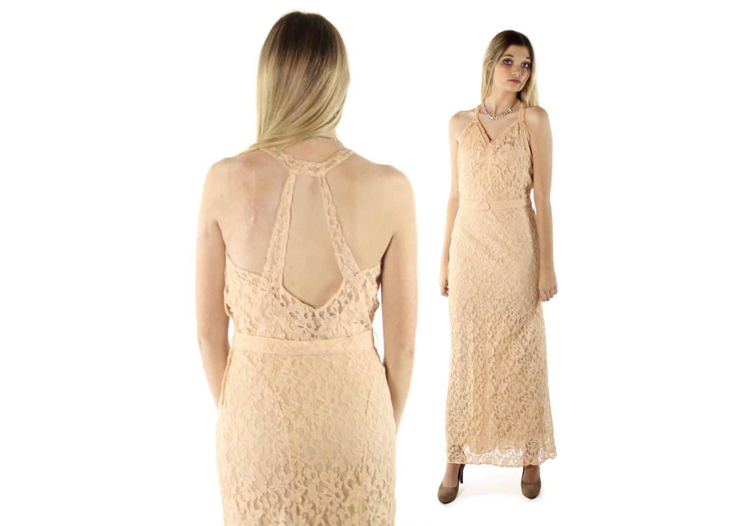 Vintage s blush lace cocktail party dress evening gown sleeveless