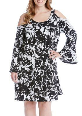 Karen Kane Women's Plus Size Cold Shoulder Flare Sleeve Dress - Print - 1X
