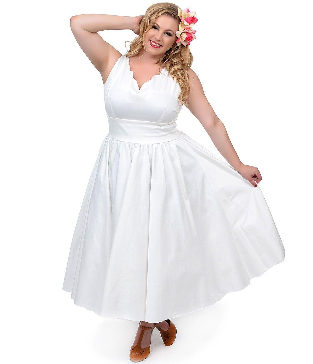 Plus size pin up style wedding dress  Plus Size s Style Ivory Cotton Sateen Scallop Brenda Swing Dress