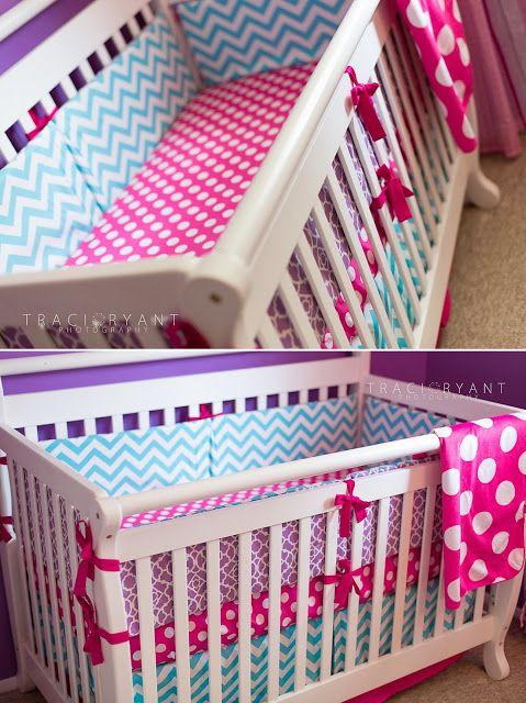 Traci Ryant Photography Baby Lyla S Nursery Chevron Polka Dots Purple Pink Turquoise Custom Crib Bedding