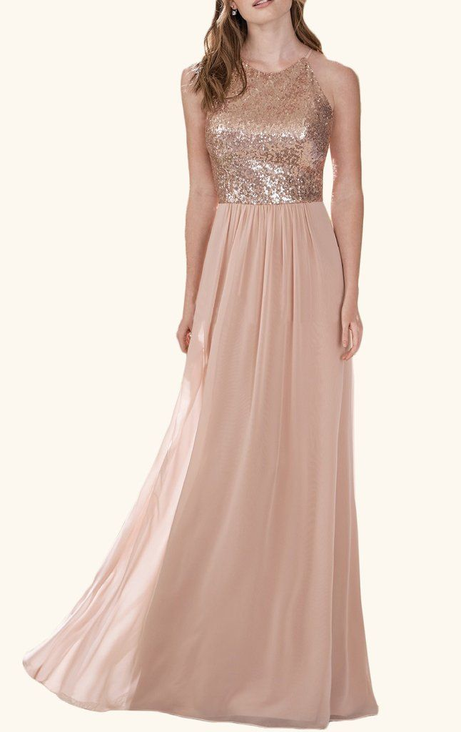 Macloth Halter Sequin Chiffon Long Bridesmaid Dress Rose Gold Formal Gown