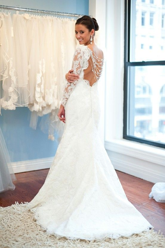 White French Lace Open Back Wedding Gown With Buttons Long Sleeved Dress Modern Trousseau Kennedy Fall 2011