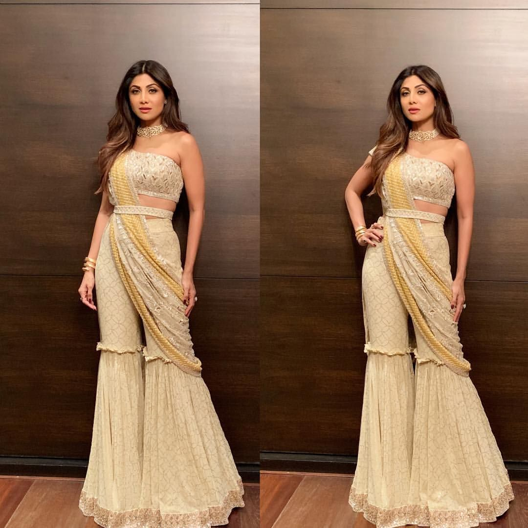 Shilpa Shetty Kundra On Instagram All Dolled Up For The Years 1st Diwali Party In This Un Designer Dresses Indian Dress Indian Style Indian Fashion Trends