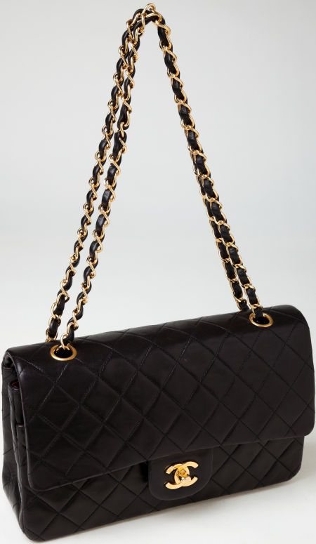d0bffa998fc8 Heritage Vintage: Chanel Black Lambskin Leather Classic Double Flap Bag  with Gold Hardware