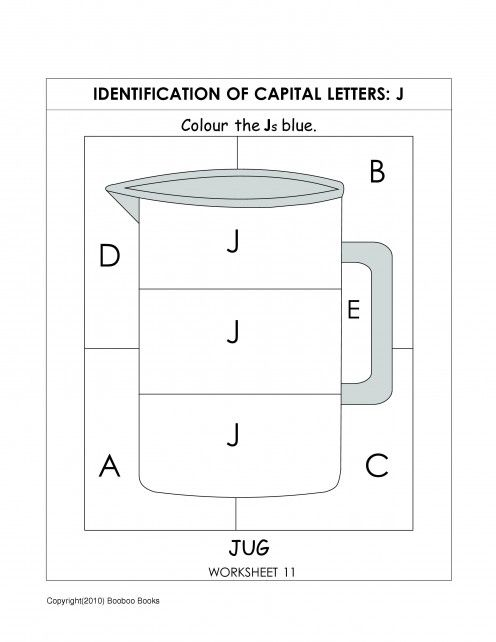 kindergarten alphabet worksheet to identify the letter j alphabet worksheets for kids. Black Bedroom Furniture Sets. Home Design Ideas