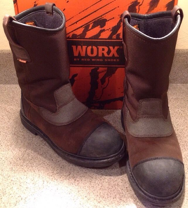 WORX by RED WING WORK BOOTS STEEL TOE WATERPROOF STYLE 6500 SIZE 9WW  PRE-OWNED2