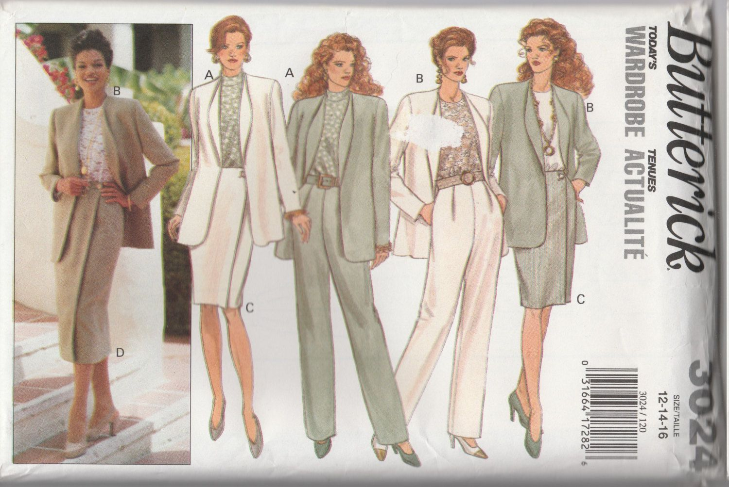 Butterick 3024 Size 12-14-16 Misses' Jacket, Top, Skirt & Pants Sewing Pattern 1993 Uncut by LadybugsandScorpions on Etsy
