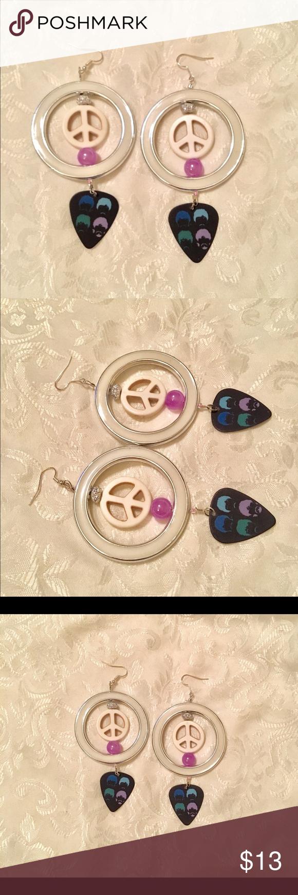 Download Hippie Peace Sign Bead Beatles Pick Earrings Handmade ...