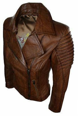 Details about NOORA Ladies Women Genuine Real Leather Slim Fit Brown Biker Jacket