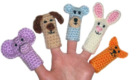 Crocheted finger puppets!  I think these would be great as a gift or party favors!