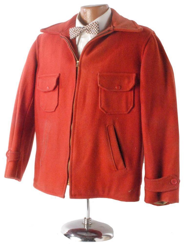 95a20029966ec Vintage 40s 50s Dubble Ware Dark Orange/Red Wool Hunting Jacket Work Jacket  M #DubbleWare #vintageworkwear #Hunting #Outdoor #huntingjacket